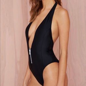 Nasty gal Deep end one piece swim Suit black